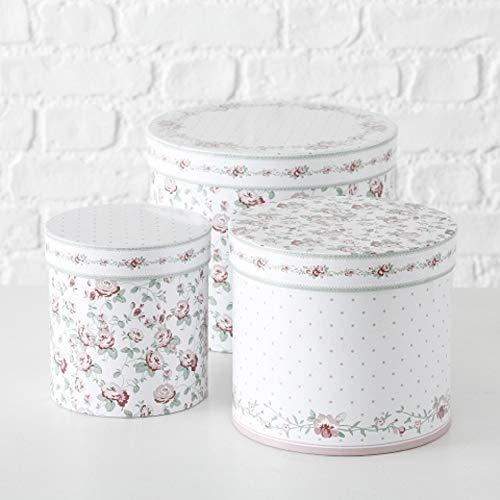Paper Collection Geschenkschachtel Kartonage Box 3er Set Romantisches Rosen Design Streublümchen D15-25cm rund