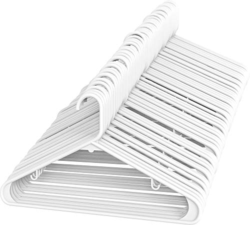 Sharpty White Plastic Hangers, Plastic Clothes Hangers Ideal for Everyday Standard Use, Clothing Hangers (White, 60 Pack)