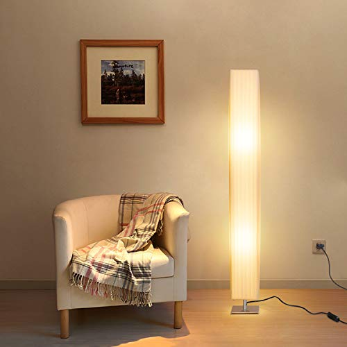 Albrillo Lámpara de Pie Moderna 120 cm - Lámpara de Tela Blanca...