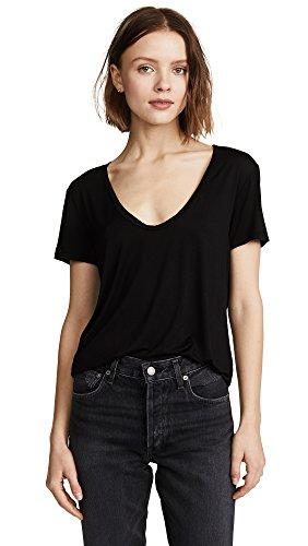 Splendid Women's Scoop Neck Short Sleeve T-Shirt, Black, S