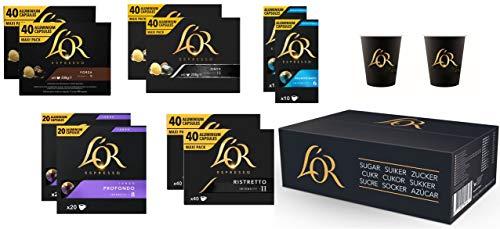 Selección de café L'OR Espresso - 300 cápsulas de café de aluminio compatibles con Nespresso (R) + 200 vasos de papel L'OR + 900 sobres de azúcar L'OR