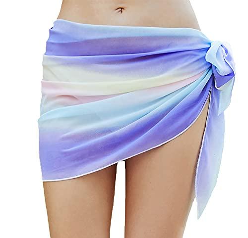 YULOONG Faldas Cruzadas de Playa para Mujer Delantal Corto con Flecos Sarong Traje de baño de Gasa Cubiertas Sexy Bikini Wrap
