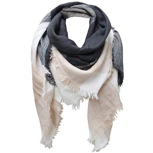 Glamexx24 XXL Schal Kuschelige, warme und wunderschöne Damen Poncho Schal mit verschiedenen Muster Schal Poncho, 1a2 GruenBraunCreme, One size
