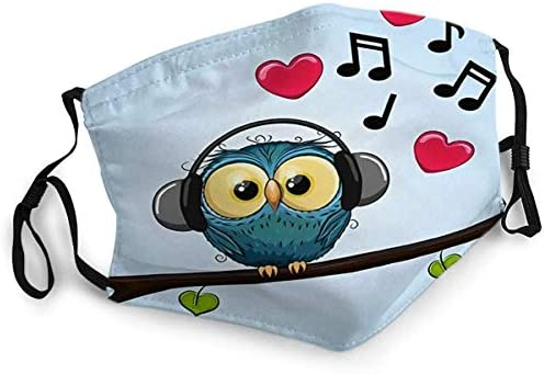Reusable Face Shield Mouth Mask Cute Cartoon Owl with Headphones Mask product image
