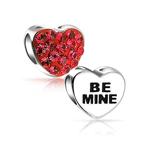 Rosso argento essere miniera amore San Valentino cristallo distanziatore al cavo alcavo sterlina d'argento si adatta braccialetto fascino europeo per le donne