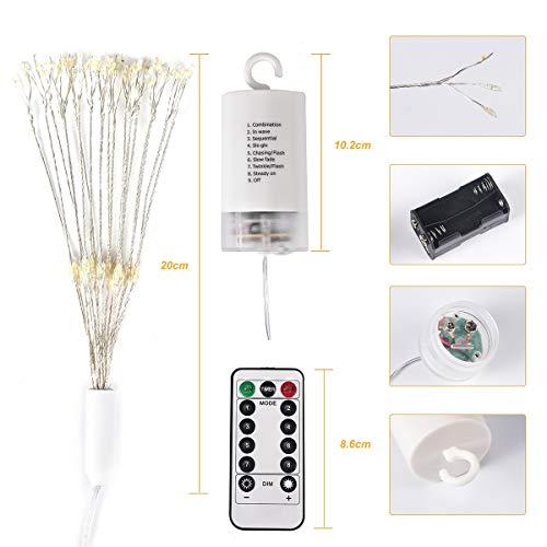 Feuerwerk lichtsnoer met 100 leds, koperdraad, Xmas Party Decor lamp, 8-modi, waterdicht IP65, met afstandsbediening, werkt op batterijen (batterij niet inbegrepen)