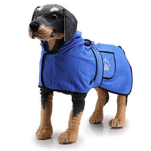 PET SPPTIES Albornoz para Perro Secado rápido de Microfibra Toalla Seca para Perros y Gatos PS047 (XL, Blue 2)