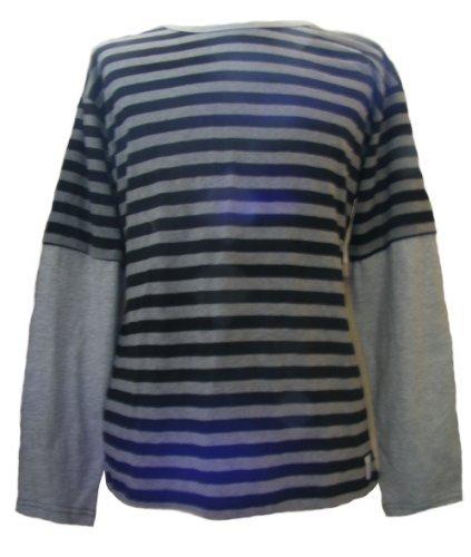 One World is Enough Classique t-Shirt rayé à Manches Longues- Fair Trade - 100% Coton (Extra Large, Noir et Gris)