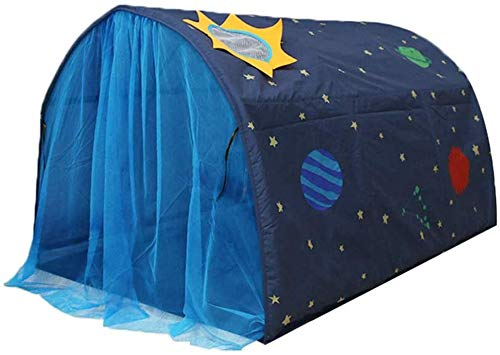 Number-one Play Tents for Girls Boys Galaxy Starry Sky Dream Bed Tents for Kids Portable Pop Up Baby Toddlers Playhouse with Double Net Curtain & Carry Bag for Bedroom Decor Indoor Games, 140x100x80cm