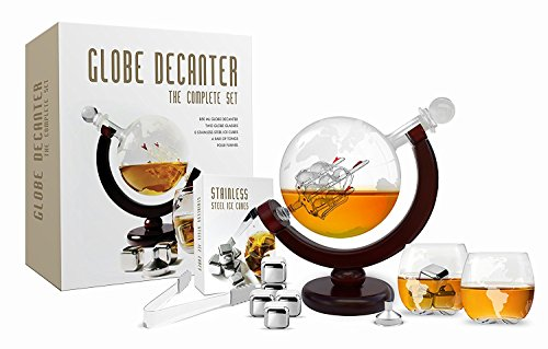 Etched Globe Tequila Decanter