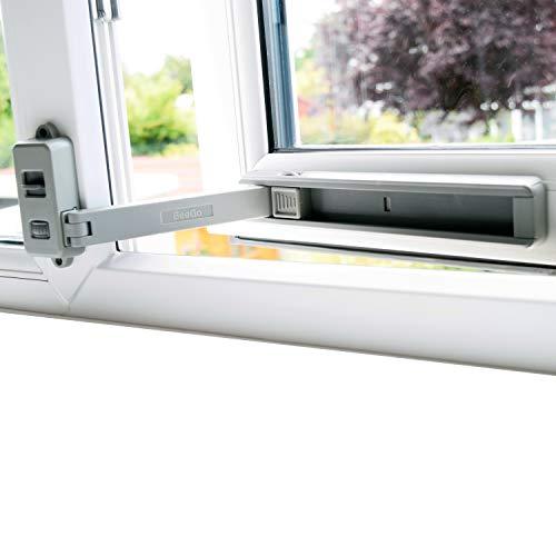 BeeGo Cerraduras de seguridad para niños para UPVC, madera, metal, marcos de ventanas de aluminio, autoadhesivos, sin herramientas ni perforaciones, fácil de instalar, (1 cerradura, gris)