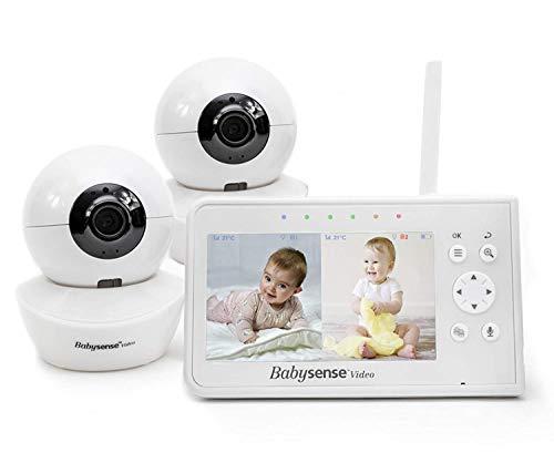 """BabySense Vigilabebés con video, pantalla dividida de 4.3""""con dos cámaras y audio, giro e inclinación remotos, alcance de 300 m (espacio abierto)"""
