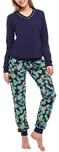 Merry Style Damen Schlafanzug MS10-230 (Marineblau/Blätter, XXL)
