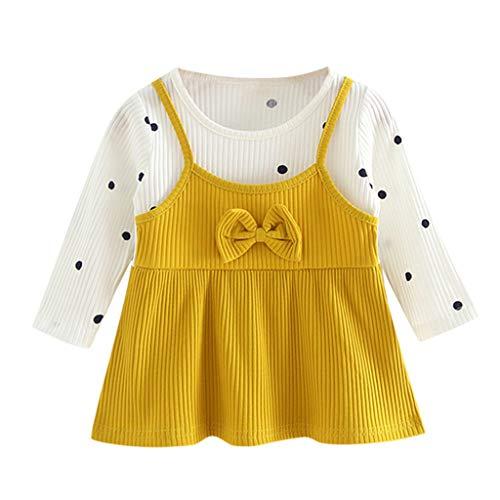 Sunnymi - Vestido de princesa para bebé de 0 a 24 meses, manga larga, diseño de cerezas amarillo XL