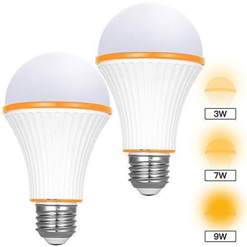 Amber Light Bulbs, 3 Modes Switch on Off Night Light Bulbs, 720 Lumens 1800K E26/E27 Base Low Blue Night Light Bulbs for for Baby Nursery Sleeping Bedtime Reading Bedroom 2 Pack