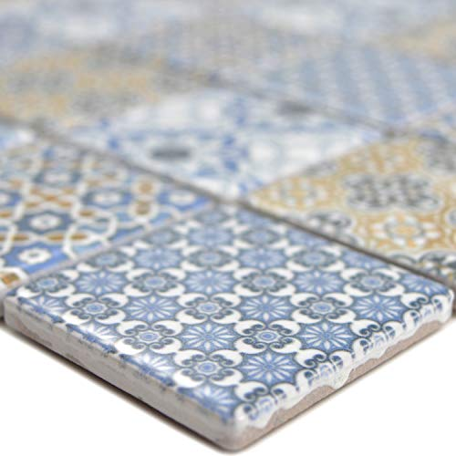 Keramik Mosaikfliesen Daymion Retrooptik Blau Braun | Wandverkleidung Badfliesen Bad Mosaikstein Natursteinfliesen Fußbodenfliesen Dekorative Fliesen Dekor