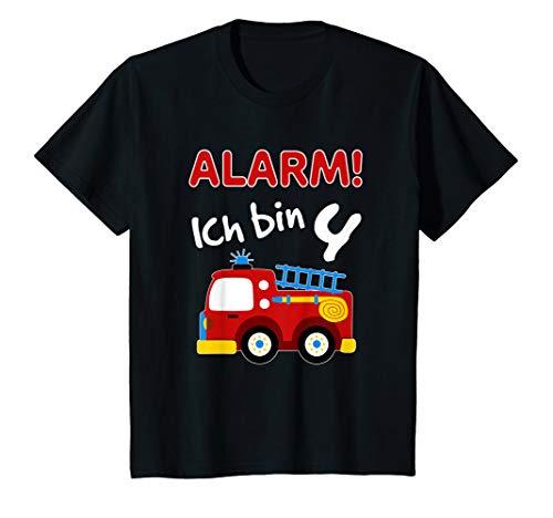 Kinder Feuerwehrauto T-Shirt 4. Geburtstag Jungen 4 Jahre Shirt
