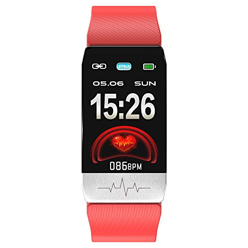 Chengjun T1 Smartwatch,Smart Band Fitness,Orologio Intelligente con IP67 Termometro,6 Modalità Sport,Activity Tracker Touch Screen Cardiofrequenzimetro Pedometri,Uomo Donna per Android iOS (red)