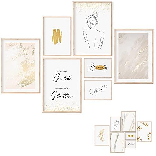 myDreamwork   Juego de pósteres premium – 7 imágenes a ambos lados Decoración elegante para el hogar dormitorio y salón Póster vintage beige sin marco (4 x A3 1 A4 2 A5)