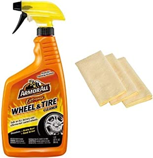 Armor All 78011 Extreme Wheel and Tire Cleaner - 32 fl. oz. with 3 Amazon Basics Thick Microfiber Cleaning Cloths