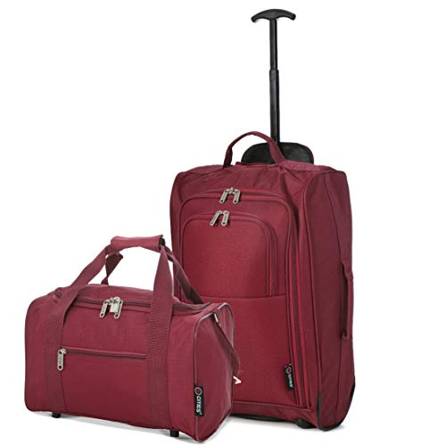 5 Cities Set of 2 Hand Luggage Set Including Ryanair Cabin Approved 55x40x20cm Trolley Bag & 40x20x25 Ryanair Maximum Holdall Under Seat Flight Bag (Wine + Wine)