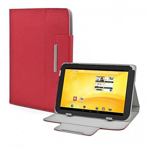 eFabrik Schutz Tasche für TrekStor Volks-Tablet 3G (VT10416-2) Tablet-PC Volks-Tablet 2 Schutztasche Zubehör Hülle mit Aufsteller in hochwertiger Leder-Optik rot