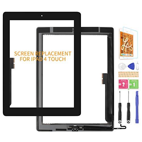 Kit de piezas de repuesto para iPad 4, digitalizador de pantalla táctil, para iPad 4, 4, A1458, A1459, A1460, pantalla táctil, panel de reparación, con botón de inicio (no incluye LCD) (negro)