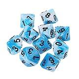 L.J.JZDY Dado 10pcs 10sed Polyhedral Dices Números Blancos Casos de Dados poliédricos para el Juego de Mesa (Color : 06, Size : Gratis)
