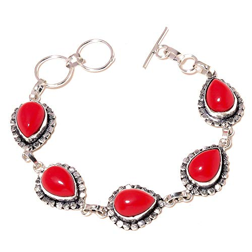 Hot SELLING! Red CORAL BRTACELET 7-9' Long, Ethnic Wear HANDMADE Sterling Silver Plated Jewelry for girls woman's Gift Party wedding all ocassions