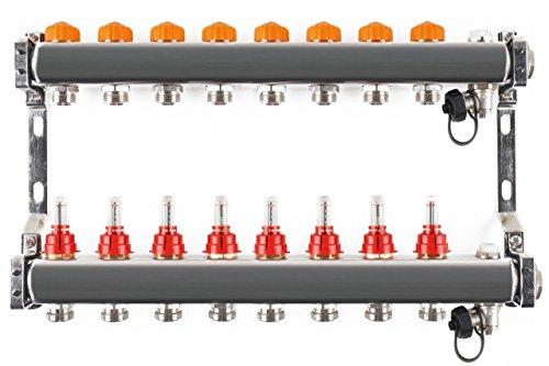 Edelstahlverteiler mit automatischem Abgleich 8 Heizkreise