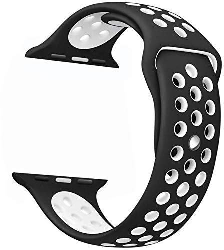 Jotech® Soft Silicone Strap Band for iWatch 42mm / 44mm Apple Watch Series 1/2/3/4/5 (Black & White Dot)