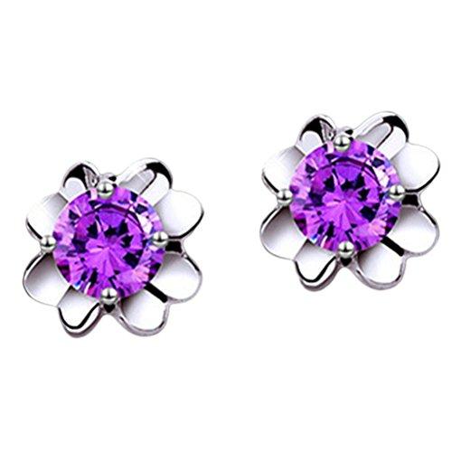 Dosige Ear Stud Earrings Silver Stud Earrings Lucky Four Leaf Clover Stud Earring Artificial Purple Crystal Studs Earrings for Women Girls