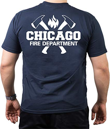 T-Shirt navy, Chicago Fire Dept. mit Äxten und CFD-Emblem