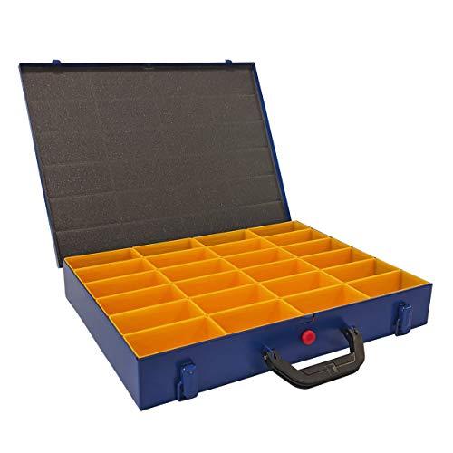 Allit Kleinteilekoffer, Stahlblech, EuroPlus Metall 44/24x63, blau, 24 Einsätze, dicht schließend, 454122