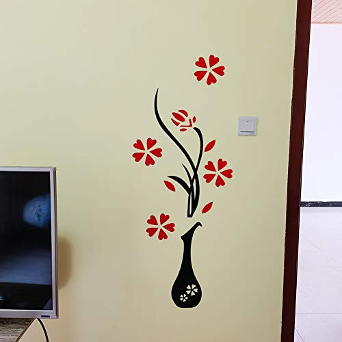 3D Vinilos Para Espejo Jarrón Murales Adornos Para Salon Modernos de Dormitorio Cocina Decoración Pared Sala de Estar (120 X 46 cm)