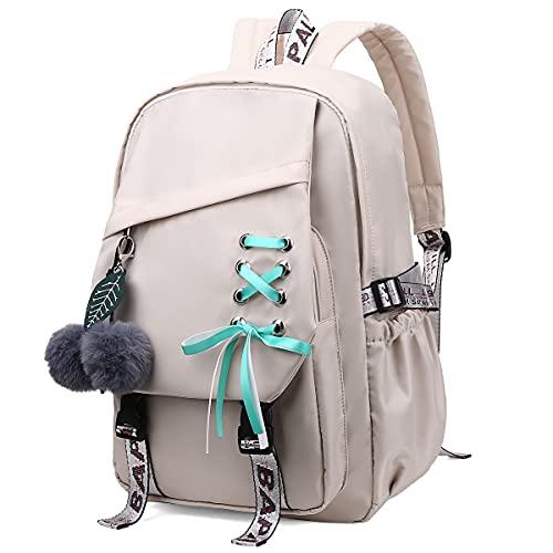 FENGDONG Kids Girls Bookbag school Backpack Children Daypack for Teens Beige