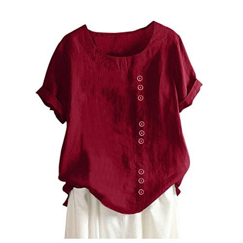AMhomely Blusa informal de lino con botones sueltos y estampado de tallas grandes para mujer