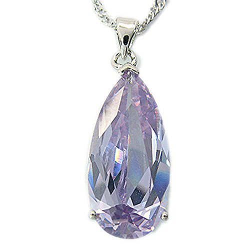RIZILIA Teardrop Pendant with 18' Chain & Pear Cut Gemstones CZ [Tanzanite] in 18K White Gold Plated, Simple Modern Elegance
