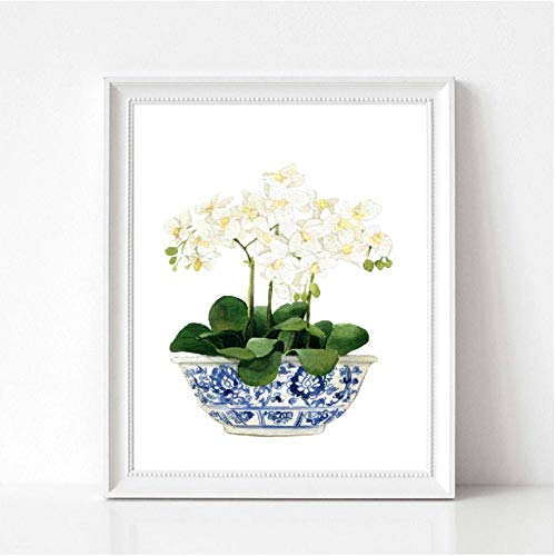 Rjunjie Witte Orchidee & Magnolia Watercolor Chinoiserie Decor Canvas Print - Oosterse Vaas Blauw Wit Wilg Stijl Porselein Bloempot (60x100cm geen frame)