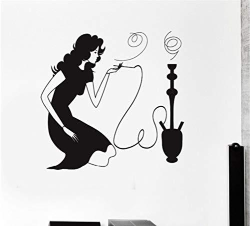 Ponana Woman Smoking Hookah Shisha Arabic Smoke Cafe Removable Vinyl Wall Stickers Shop Window Decoration 56X57Cm