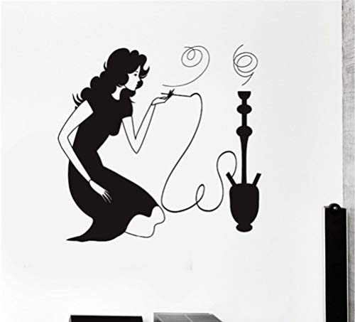 Ponana Woman Smoking Hookah Shisha Arabic Smoke Cafe Removable Vinyl Wall Stickers Shop Window Decoration 56X57Cm