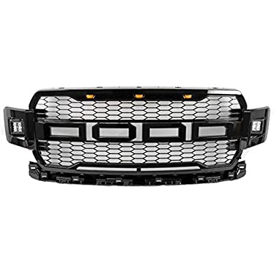 ZMAUTOPARTS Mesh Front Bumper Upper Hood Grille Black w/Side LED+Amber Signal Light Compatible with 2018-2020 Ford F-150