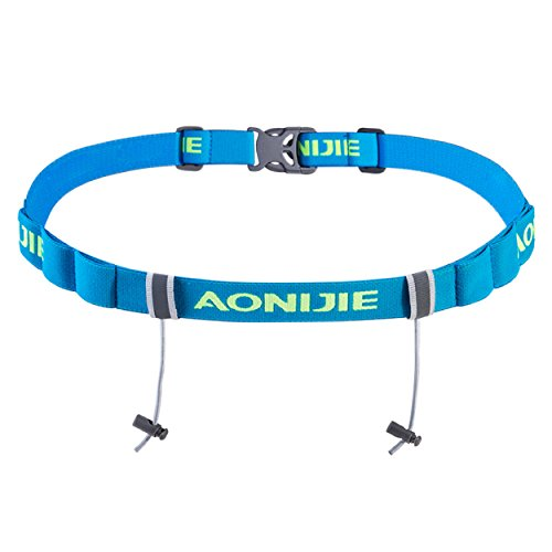 Azarxis Triathlon Race Number Belt Running Bib Holder for Marathon Cycling Elastic Adjustable Multifunction with 6 Gel Loops (Blue)
