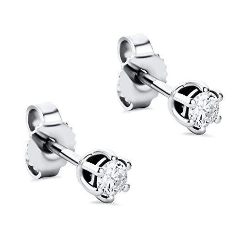 Orovi Damen Ohrringe mit Diamanten Weißgold Solitär Ohrstecker 14 Karat (585) Gold und Diamant Brillanten 0.25 Ct Ohrring Handgemacht in Italien