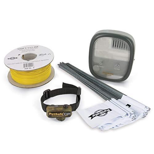 PetSafe - Clôture Anti-Fugue Deluxe avec Collier spécial Chat (sangle avec section élastique) - Étanche - Facile à Installer et à utiliser - 4 niveaux de Stimulation – Collier Anti-étranglement
