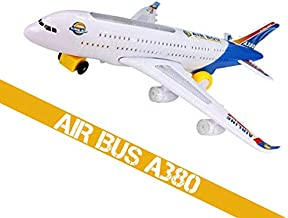 Electric Airplane Toys Air BOU A380 Model Plane Bump and Go Kids Action Airplane Beautiful 3D Light and Jet Engine Gift for Boys & Girls Age 2-8 Years Old Aircraft Changes Direction On Contact