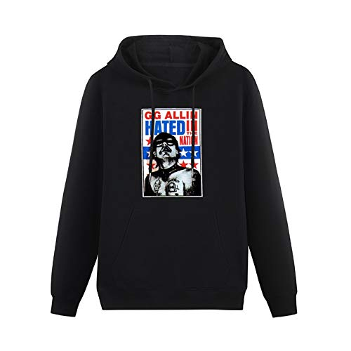 Sweatshirt Hoodie GG Allin Hated in The Nation Punk Rock Cult Murder Junkies Hooded with Drawstring Pockets Black 3XL