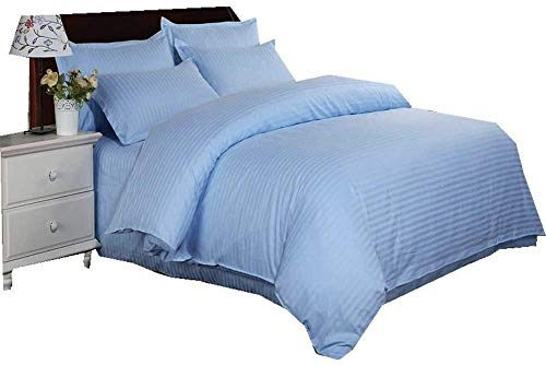 FlowersER Bedding Four-piece Hotel Hotel Cotton White Quilt Cover Fitted Sheet Sheets Pillowcase Deep Bedding Set Double Size (Color : Blue, Size : King)