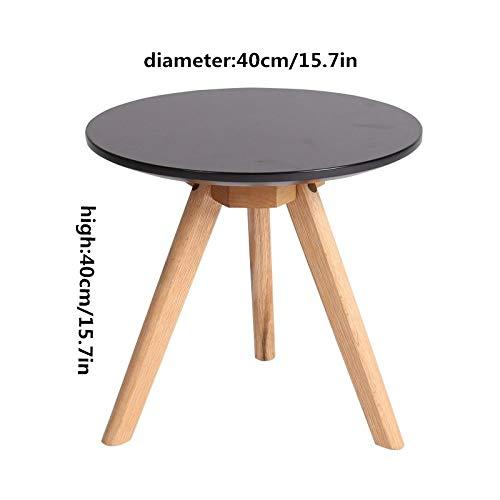 NA Massivholz-Couchtisch, Kleiner Eck-Couchtisch, Runder Kleiner Couchtisch Aus Massivholz, Kreativer Kleiner Schreibtisch/Couchtisch,Schwarz,40 cm / 16In