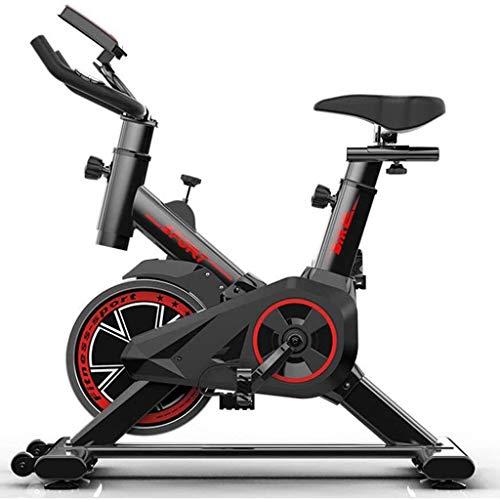 Qhxxtxjis Bicicleta Estática, Bicicleta Estática de Interior Bicicleta De Ciclismo Pantalla LCD Estacionaria Frecuencia Cardíaca pie Ajustable Equipo de Entrenamiento,Negro,43.31 * 33.46 Inches